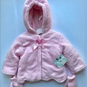 NWT Warm Pink Baby Girls Jacket With Mitte…